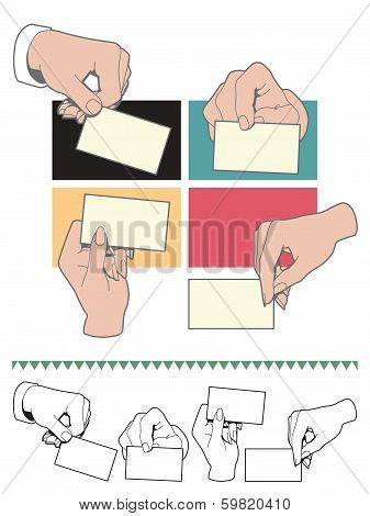 Hand holding blank card set