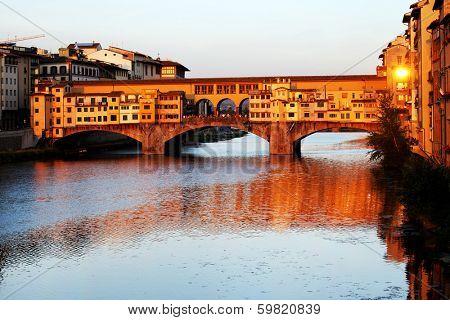 Ponte Vecchio over Arno River, Florence, Italy,Europe