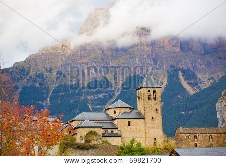 Torla Church in Pyrenees Ordesa Valley door Aragon Huesca Spain