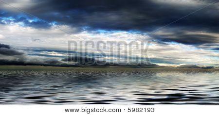 Cloudy Sky Above Water Panorama