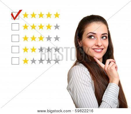 Beautiful Woman Choose Five Stars Rating In Feedback. Good Result