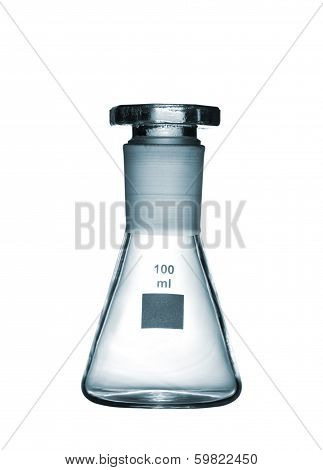 Chemical Conical Flask With A Glass Stopper Isolated On White Background