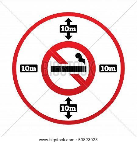 No smoking 10m distance sign. Stop smoking.