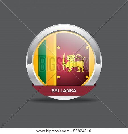 Sri Lanka Flag Vector Icon Round Button