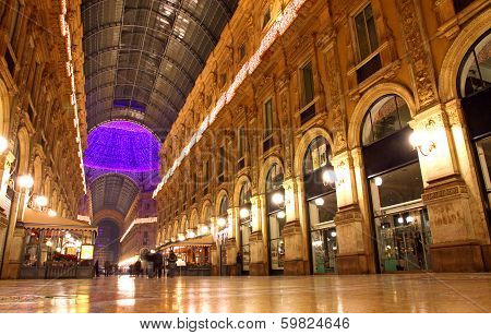 Galleria Vittorio Emanuele Shopping Center In Milan, Italy