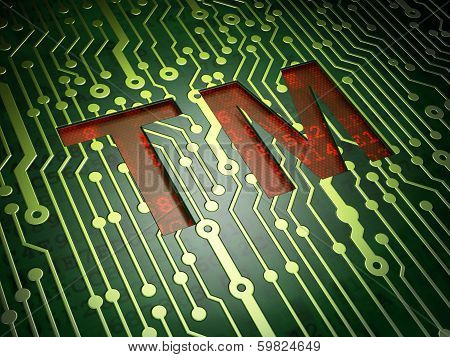 Law concept: Trademark on circuit board background