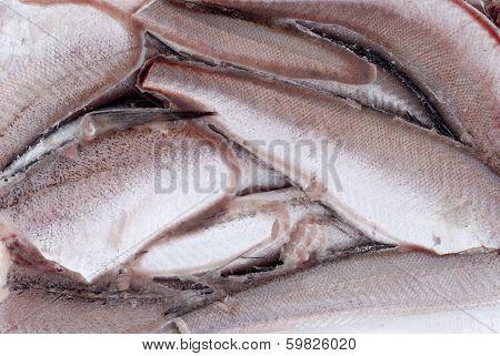 Frozen Hake Fish As Food Background