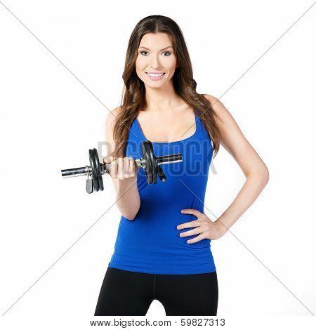 Female exerciser dumbbells