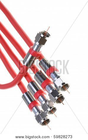 Bunch of red coaxial cables with connectors