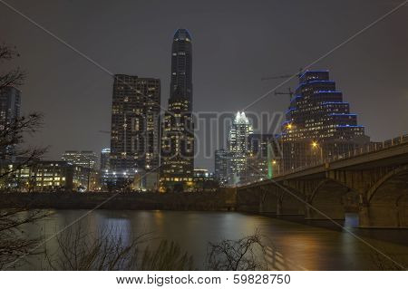 Partial Skyline Of Austin, Texas At Night