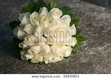 Wedding Bridal Bouquet With White Roses