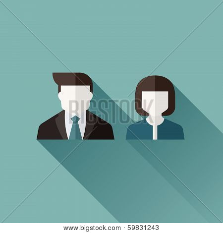 Male And Female User Icons. Flat Design With Long Shadow. Vector Illustration