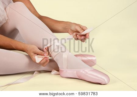 Ballerina Sit Down On Floor To Put On Slippers Prepare  For Perform