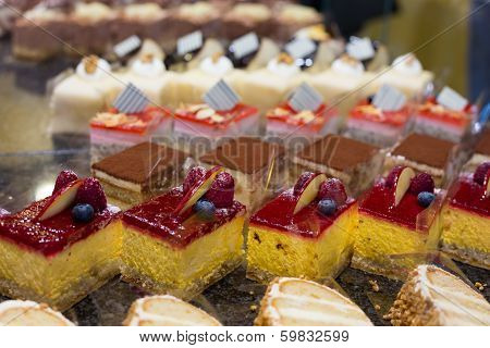 Cake Displayed In Confectionery Or Café