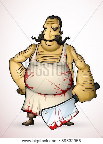 Butcher with a hatchet in hand