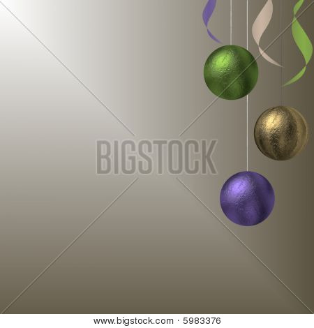 Christmas Baubles On Gold Gradient