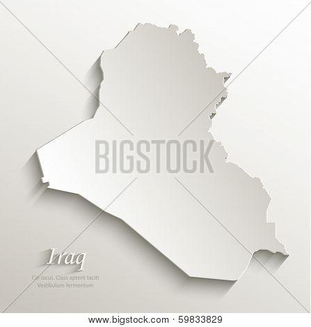 Iraq map card paper 3D natural vector