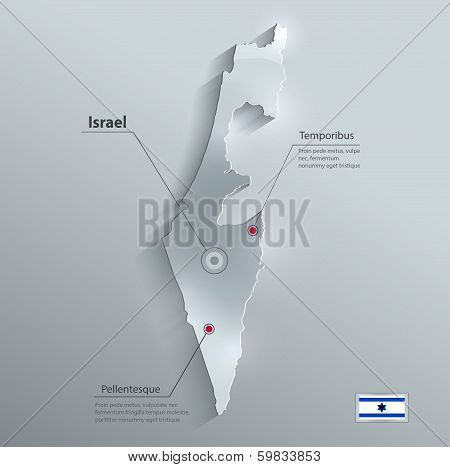 Israel map flag glass card paper 3D vector