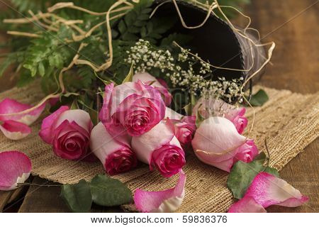 Pink Roses On Burlap With Metal Bucket