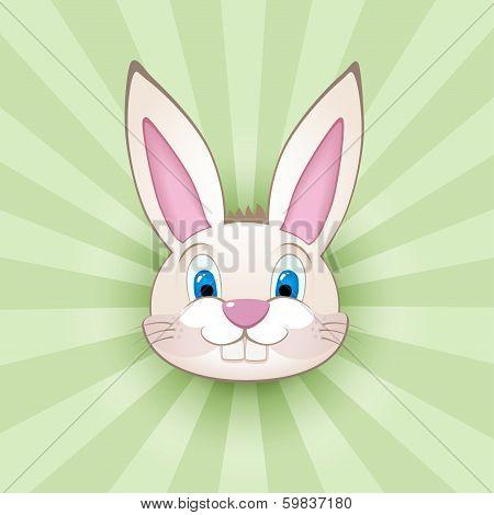 Cartoon bunny head on green