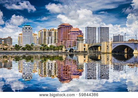 West Palm Beach, Florida, USA downtown over the intracoastal waterway.