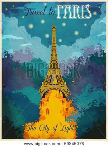 Travel to Paris Poster - Vintage traveling advertisement showing lit up Eiffel Tower and light-flooded boulevard with people