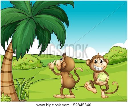 Illustration of the two monkeys near the coconut tree on a white background