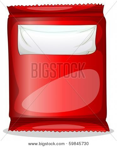 Illustration of a red packet with an empty label on a white background