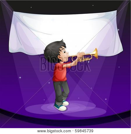 Illustration of a boy performing at the stage with an empty banner