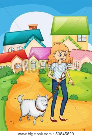 Illustration of a woman strolling with her dog