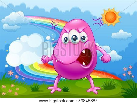 Illustration of an angry monster with a rainbow in the sky
