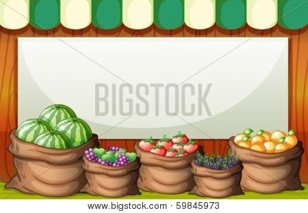 Illustration of an empty template at the market at the back of the sack of fruits