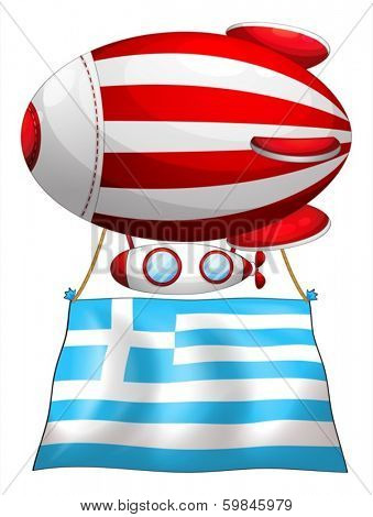 Illustration of the flag of Greece attached to the floating balloon on a white background