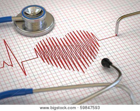 Stethoscope and ECG cardiogram. Medicine concept, 3d