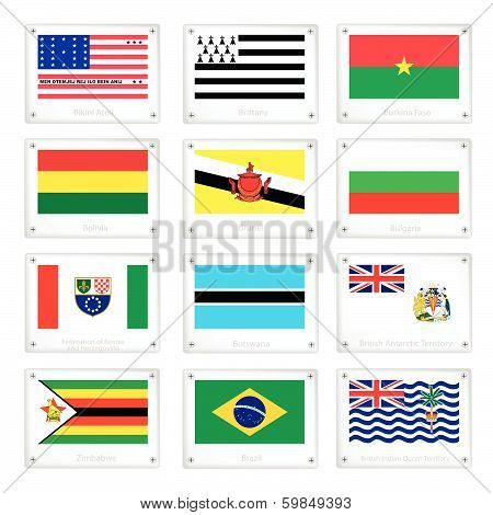 The National Flags On Metal Texture Plates