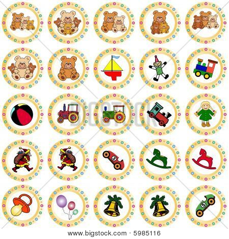 colorful golden circles with toys and christmas motives