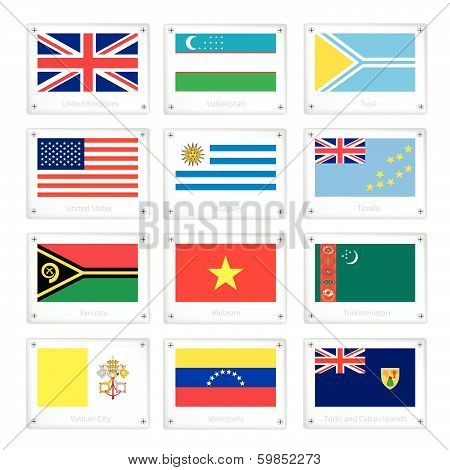 Gallery Of Countries Flags On Metal Texture Plates
