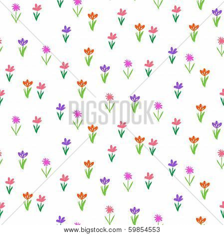 Grunge pattern with small hand drawn flowers.