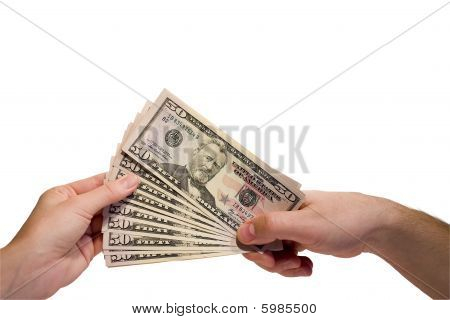 female hand with keys and male hand with money