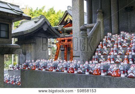 Fox Statues At Shrine