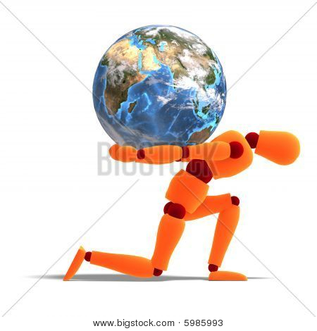 Orange / Red  Manikin Carries The World