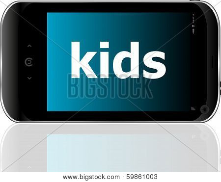 Smart Phone With Kids Word, Social Concept