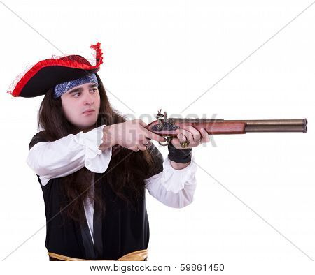 Pirate With A Musket On White Background