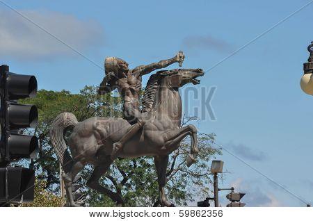 Chicago; The Bowman; Bronze equestrian sculpture