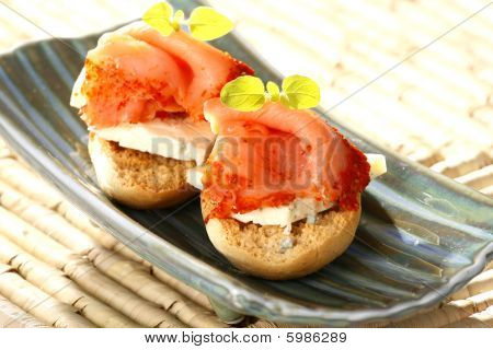 Very tasty smoked salmon with sweet cheese