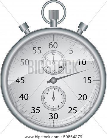 Silver vector stop watch, vector illustration