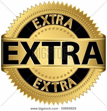 Extra golden label, vector illustration
