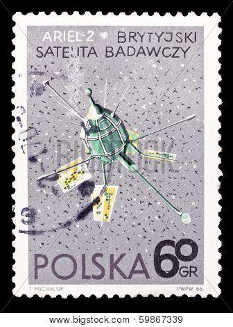 Poland Stamp, Great Britain Setellite Ariel-2