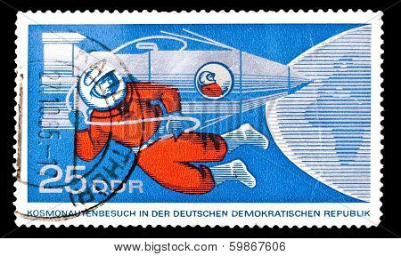 Gdr Stamp, Visit Of Russian Cosmonauts To Eastern Germany