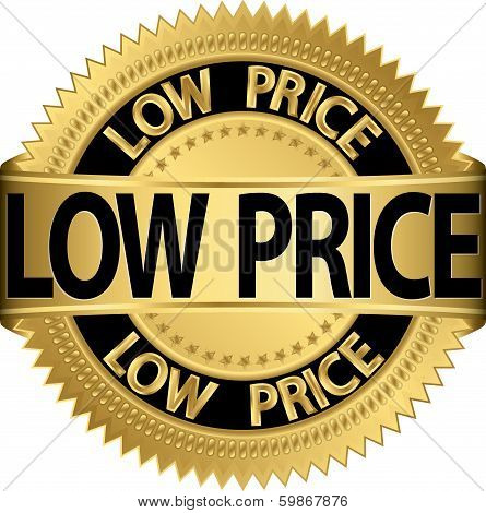 Low price golden label, vector illustration